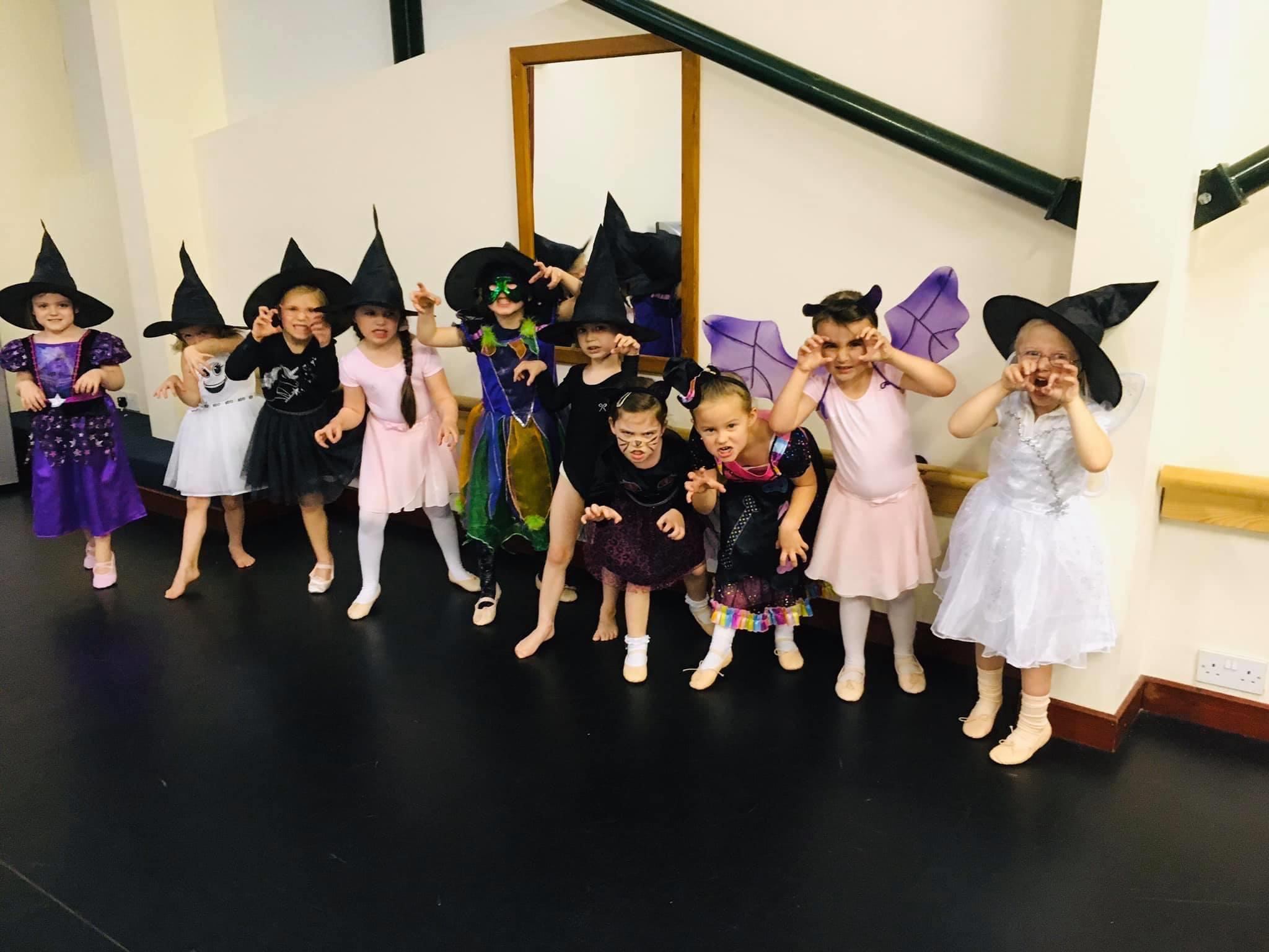 ballet class dressed for halloween